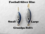 Football Ice Jig - Silver and Blue