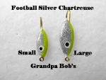 Football Ice Jig - Silver and Chartreuse