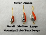 Teardrop Ice jig - Silver and Orange