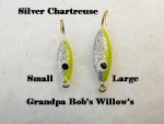 Willow Leaf Ice jig - Silver and Chartreuse