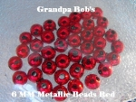 Metallic Beads - 6mm - Red - 100 Count