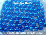 Metallic Beads - 6mm - Blue - 100 Count